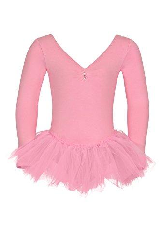 """tanzmuster Kinder Ballettanzug Ballett Trikot mit Tutu """"Romy"""". Edles Ballettkleid mit langen Ärmeln und Strasssteinen in rosa"""
