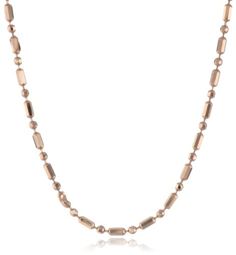14K Italian Rose Gold Diamond Cut Bar And Beaded Chain Necklace, 18""