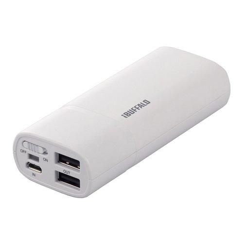 iBUFFALO ※iPhone4S動作確認済[Andoroido&iPhone]全機種対応スマートフォン用大容量モバイルバッテリ2ポート5200mAタイプホワイト BSMPA04WH