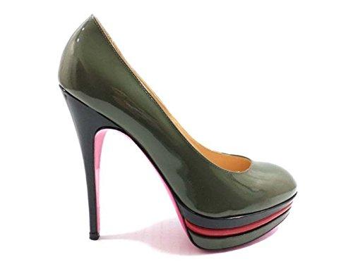 scarpe donna LUCIANO PADOVAN 38 EU decolte verde scuro nero rosso vernice AY622