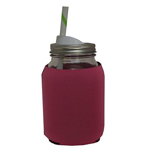 Mason Drinking Jar with Straw and Sip Lid -32 Oz with Neoprene Mason Jar Koozie (Pink) Bundle (Mason Jar Water Bottle Pink compare prices)