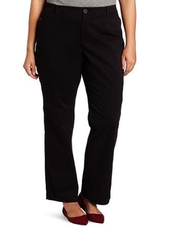 Dockers Women's Plus Size Hello Smooth Continental Khaki Pant, Black, 16 Medium