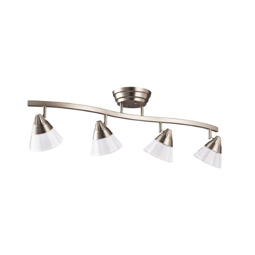 B002PTFPOA Kichler Lighting 10325NI 4-Light LED Energy Star Fixed Rail Directional Light, Brushed Nickel with Clear Inside Etch Glass