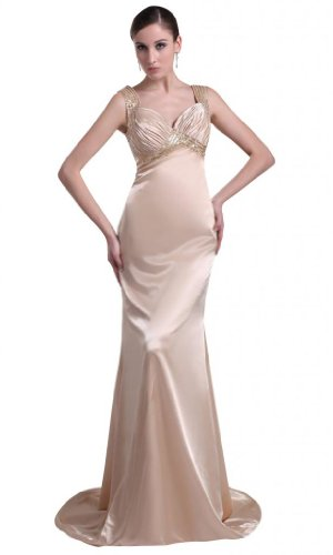 Orifashion Elegant Fit and Flare Light Champagne Prom/Evening Dress with Sweep Train (Model EDSHER0276), US Size 6