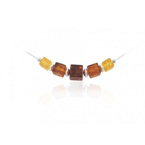 Timeless Amber, Honey, Citrine & Cherry Cubix Necklace, 17