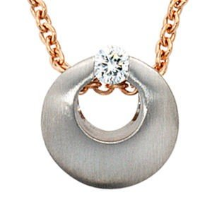 Jewelry Woman pendant 950 Platinum, Diamond, frosted, Diameter of about 10.3 mm, Finish well