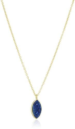 "Marcia Moran ""Midnight"" Gold-Plated Drusy Quarts Diamond-Shape Pendant Necklace"