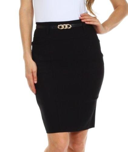 Sakkas 2741 Women's Shirred Hip Stretch Pencil Skirt with Skinny Belt - Brown - Large
