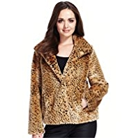 Petite Funnel Neck Faux Animal Fur Jacket