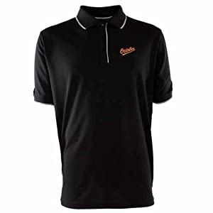 Baltimore Orioles Polo - MLB Antigua Mens Elite Polo Black by Antigua