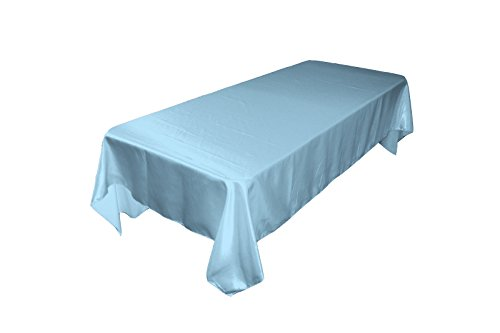 LA Linen™ 60x120-Inch Polyester Bridal Satin Rectangular Tablecloth, Baby Blue. Made In USA. Coupon 2016