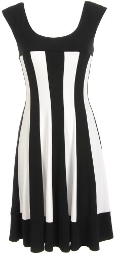 Connected Apparel Petite Stripe Fit & Flare Dress BLACK/WHITE 4 Petite