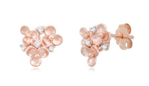 Silver Cluster Flower Diamond Earrings