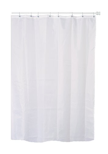 Extra-long White Fabric Shower Curtain (100% Polyester) with Metal ...