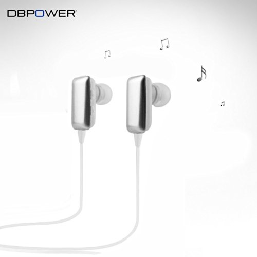 Dbpower® Mini Portable Silver Wireless Stereo Bluetooth Bt Headset Headphone Earphone Earpiece Earbud With Microphone Mic, A2Dp, Noise Cancellation, Music Remote Control, Compatible With Apple Iphone 5/5S/5C, Iphone 4/4S, Ipad 1/2/3, New Ipad, Ipod And Sa