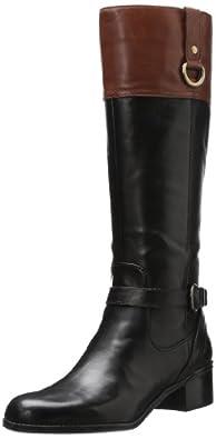 Bandolino Women's Carmine Riding Boot,Black/Cognac Leather,5 M US