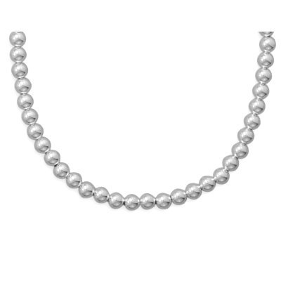 Sterling Silver Bead Necklace 6mm Width Made in the USA, 16-inch