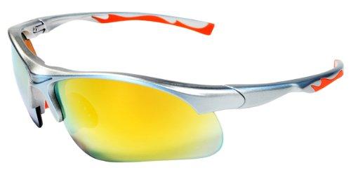 79b80b65f0e Sunglasses JM12 Sports Wrap for Baseball Softball Cycling Golf TR90 Frame  Mirror Lens Silver Orange