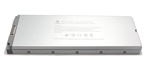 "Egoway® New Laptop Battery For Apple Macbook 13"" A1185 A1181 Ma254 Ma255 Ma472 Ma561 Ma699 Ma700 Mb061 Series, Fits 020-5071-B 661-3958 661-4703, Aluminum Body As Original (Not Plastic) [Li-Polymer 10.8V 5200Mah]"