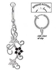 Fake Belly Navel Non Clip on Clear Cz & Black Flowers on Swirl Vine dangle Ring