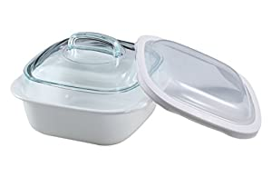 CorningWare SimplyLite 1-1/2-Quart Casserole with Glass and Plastic Lids
