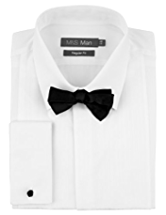2in Shorter Satin Striped Dinner Shirt with Bow Tie