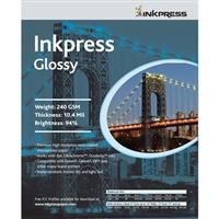 "Inkpress Glossy, Single Sided Gloss Surface Inkjet Paper, 240gsm, 10.4 mil., 17x38"", 20 Sheets"