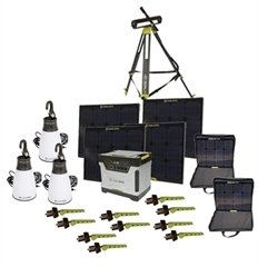 Goal Zero BONUS Yeti 1250 Solar Generator Kit with cart, (4) Boulder 30 solar panels, (2) panel carrying cases, (1) Solar Tripod (holds 4 panels), 3 Light a Life Lanterns, (10) Boulder Clips