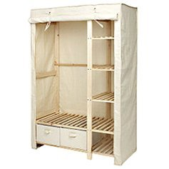 Wooden canvas wardrobe