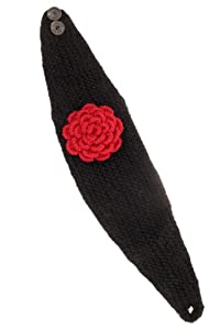 Nirvanna Designs HB01 Detachable Flower Headband with Buttons and Fleece, Black