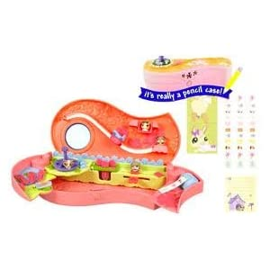 Littlest Pet Shop Store and Go Pencil Case with 4 Rolls of Stickers, 6 Paper Clips, Ruler, Note Pad, Character Card and 4 Mini Pets