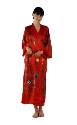 Silk Kimono Robe Bathrobe for Women - Grace - Long Sleeve Kimono Style Robe Luxury Robe Mothers day gifts presents Valentines gifts her women mom wife gift ideas for mom mother from daughter son wedding bridal romantic anniversary gifts for her wife present girlfriend birthday women