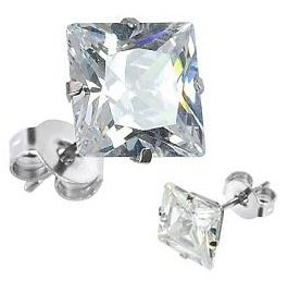 Pair of Clear Square CZ Stud Earrings (Various Sizes Available) Silver Stainless Steel