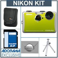 Nikon Coolpix S1100pj Digital Camera Kit - Green - with 4GB SD Memory Card, Camera Case, Table Top Tripod, 2 Year Extended Service Coverage