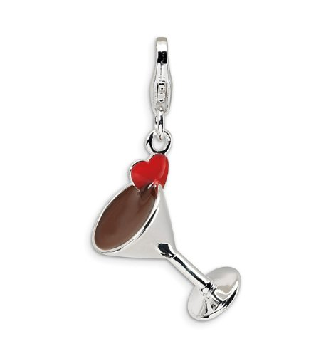 Sterling Silver 3D Enameled Heart Martini Glass Charm