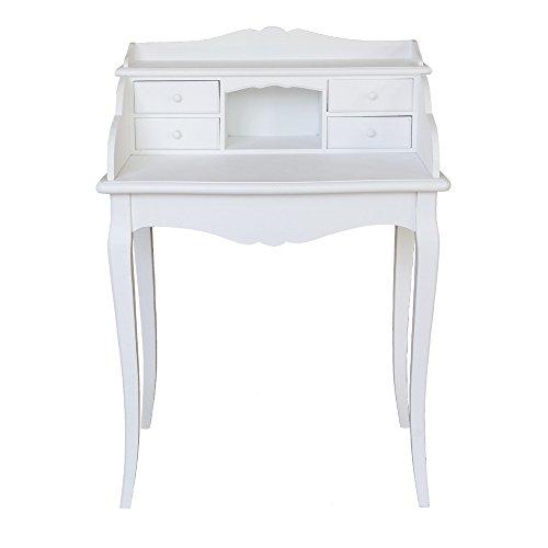 Kleiner-Sekretr-MARIE-wei-im-Landhausstil-Schreibtisch-mit-4-Schubladen