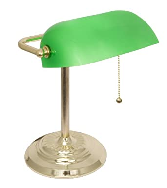 LightAccents Metal Bankers Desk Lamp Glass Shade Brass