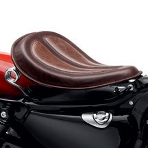 Harley-Davidson Solo Spring Saddle - Black Leather - Brown Leather - 54072-10