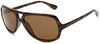 Ray-Ban RB4162 Aviator Sunglasses 59 mm, Polarized, Lite Havana/Polarized Crystal Brown