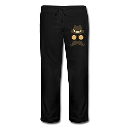 Kim Women's Workout Pants Mustache Black Size M