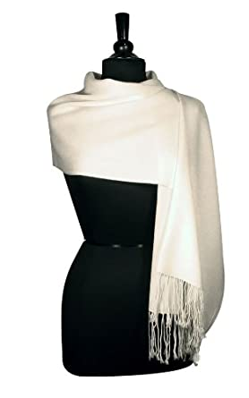 100% Pashmina Solid Cream Shawl Wrap. Woman's Scarf. at