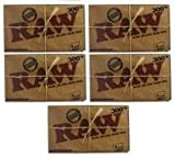 RAW BRAND Cigarette Rolling Papers - Raw 300s - FIVE PACKS - 1500 Sheets 1.25 Size