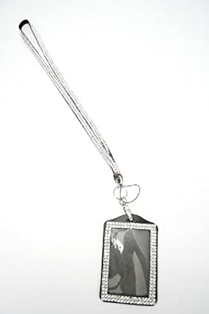 New Shimmering Bling Rhinestone Id Badge Lanyard with Detachable Bling Rhinestone Lined Id Holder, Gifts, Parties, Special Events, Work, or Play! (Crystal Clear)