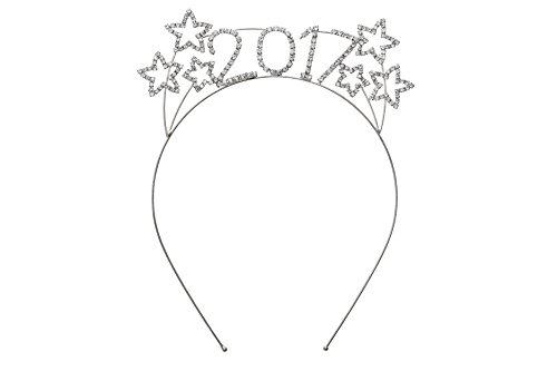 Rosemarie Collections Women's Sparkly Rhinestone New Year's Tiara Headband (2017 Stars)