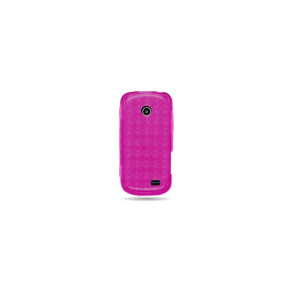 WIRELESS CENTRAL Brand Flexi Gel SKin TPU Glove with PINK PLAID CHECKERED Design Soft Cover Case For SAMSUNG T528 T528G (TRACFONE) [WCJ903]