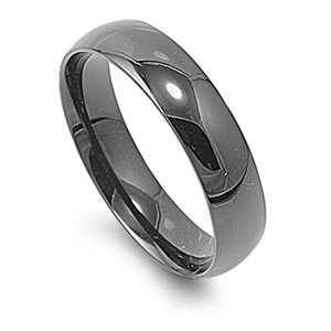 6MM HIGH Polished Black Stainless Steel Unisex Men Wedding Band Ring Size 5-15 (10)