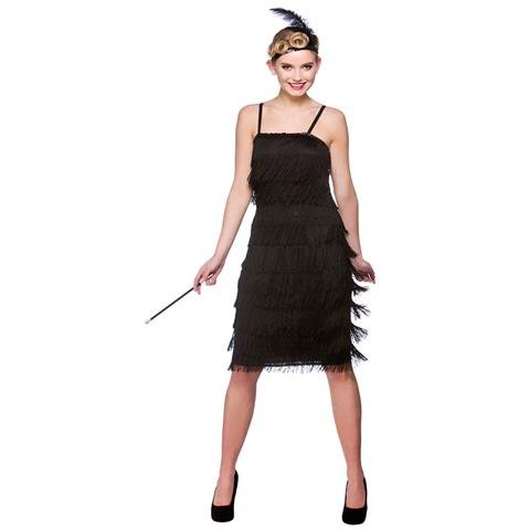 Black Jazzy Flapper Adult Fancy Dress 1920s Showtime Flapper Costume