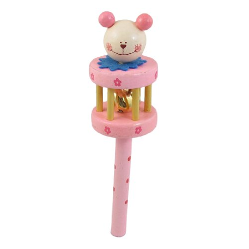 Como Beige Wooden Animal Head Pink Shake Musical Toy Gift Rattle for Baby