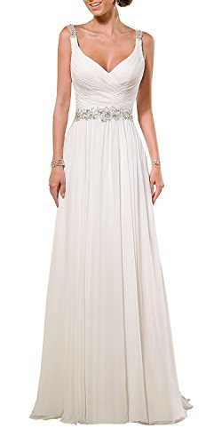 KingBridal V Neck Shoulder Straps Soft Ruching Chiffon Wedding Gown (14, White)