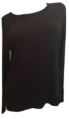 Eileen Fisher Viscose Jersey Jewel Neck Long Sleeve Tee Chocolate Size Medium